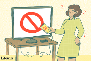 Illustration of a person trying to watch phone video on big screen TV with a big