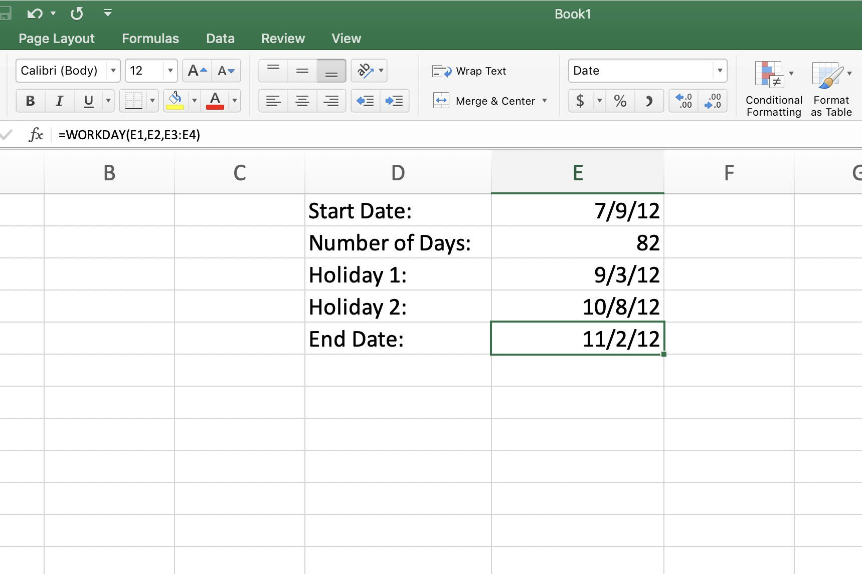 Excel WORKDAY Function example