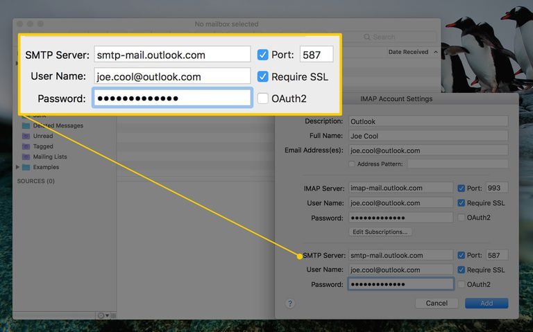 Screenshot of SMTP settings for Outlook email account in MailMate, macOS