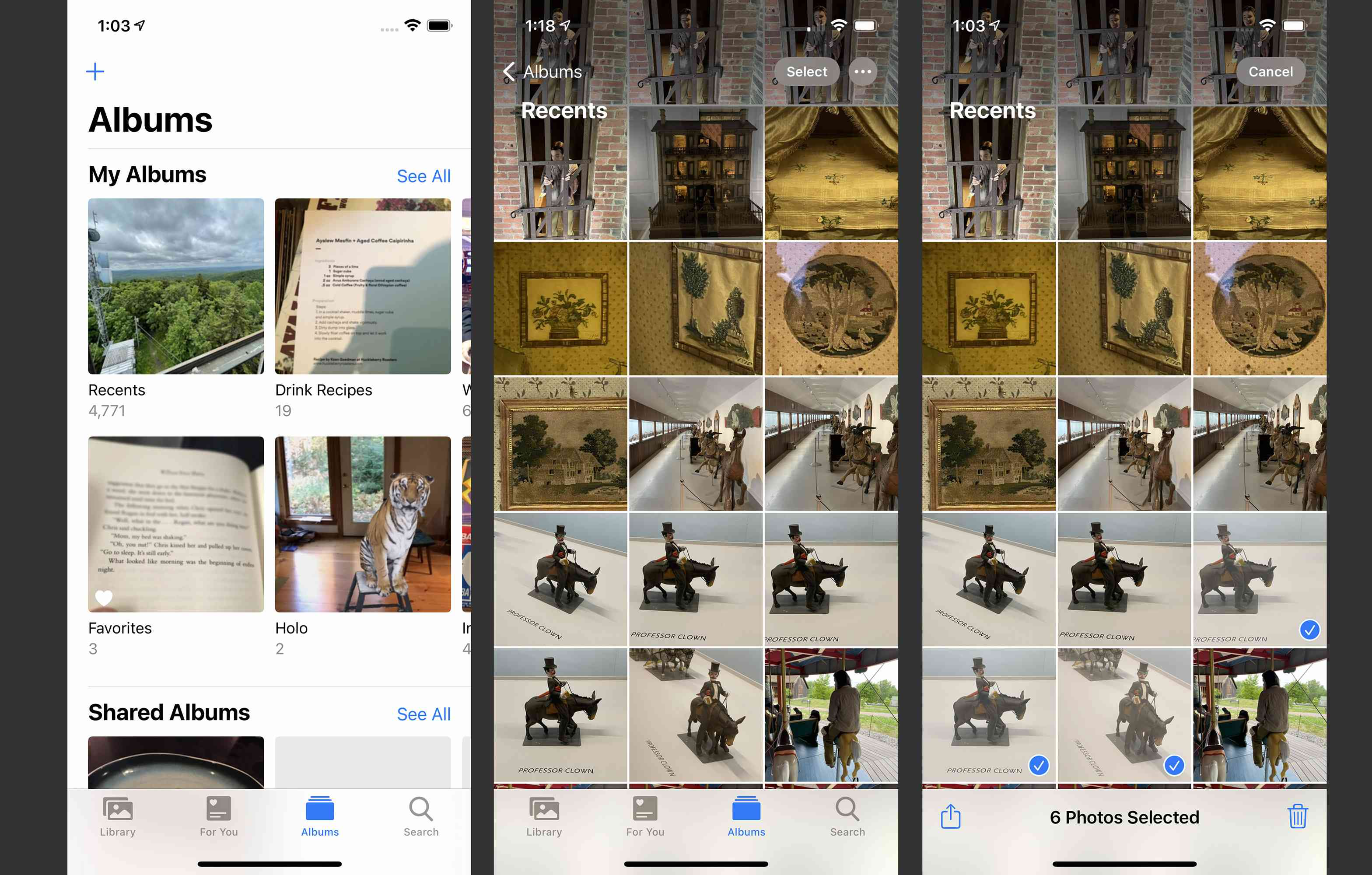 Screenshots of how to select photos for sharing on iPhone