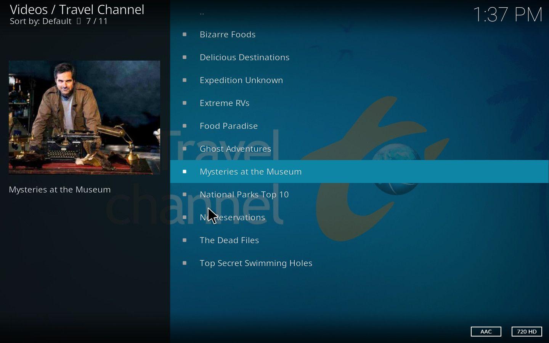 Travel Channel Kodi Add-on
