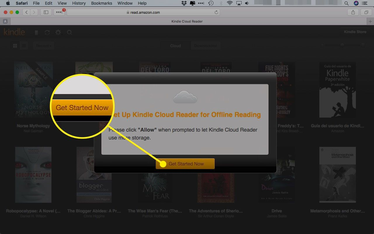 Kindle Cloud Reader with the Get Started Now button highlighted