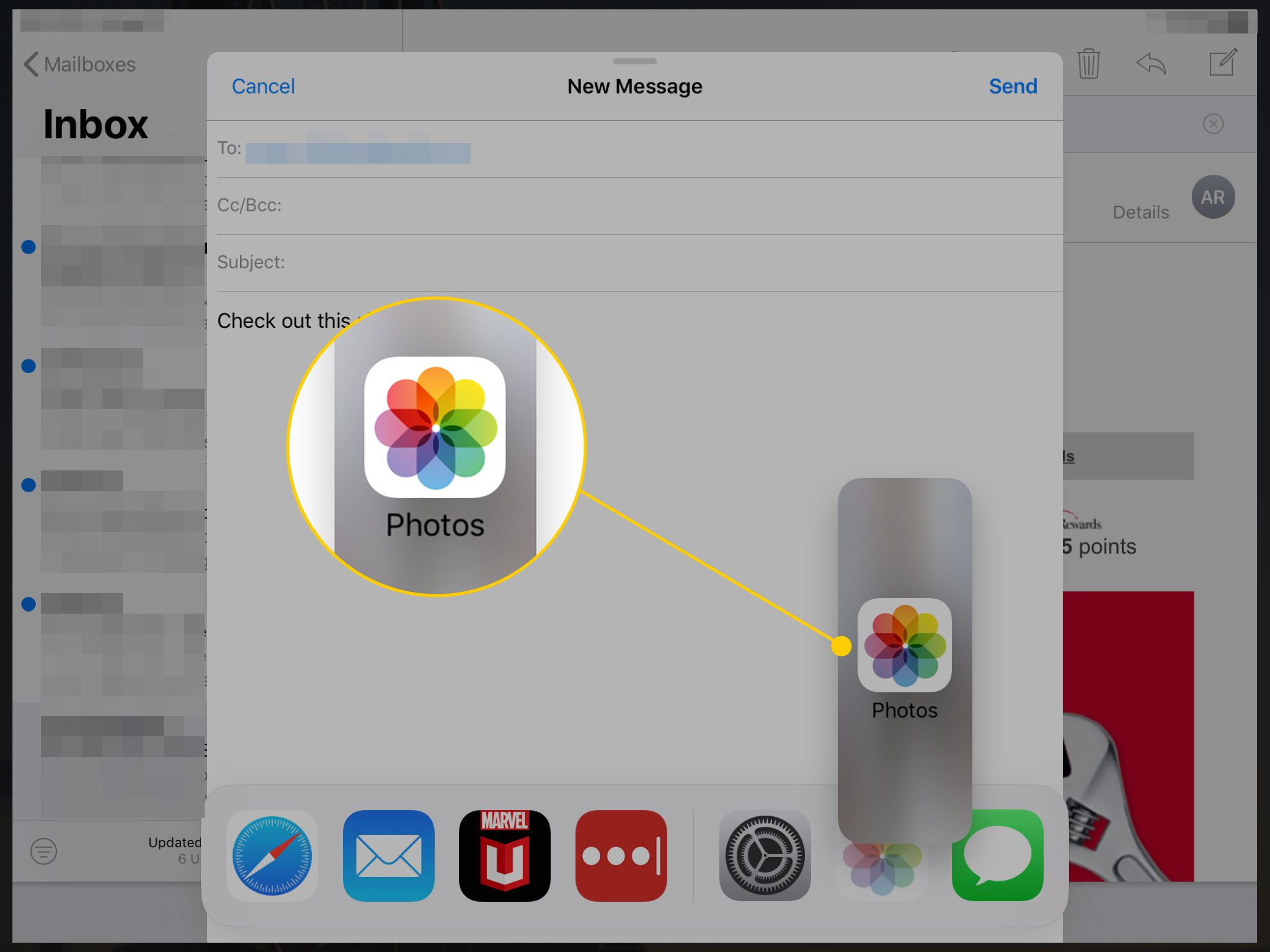 An email open on an iPad with Photos highlighted in a rectangle