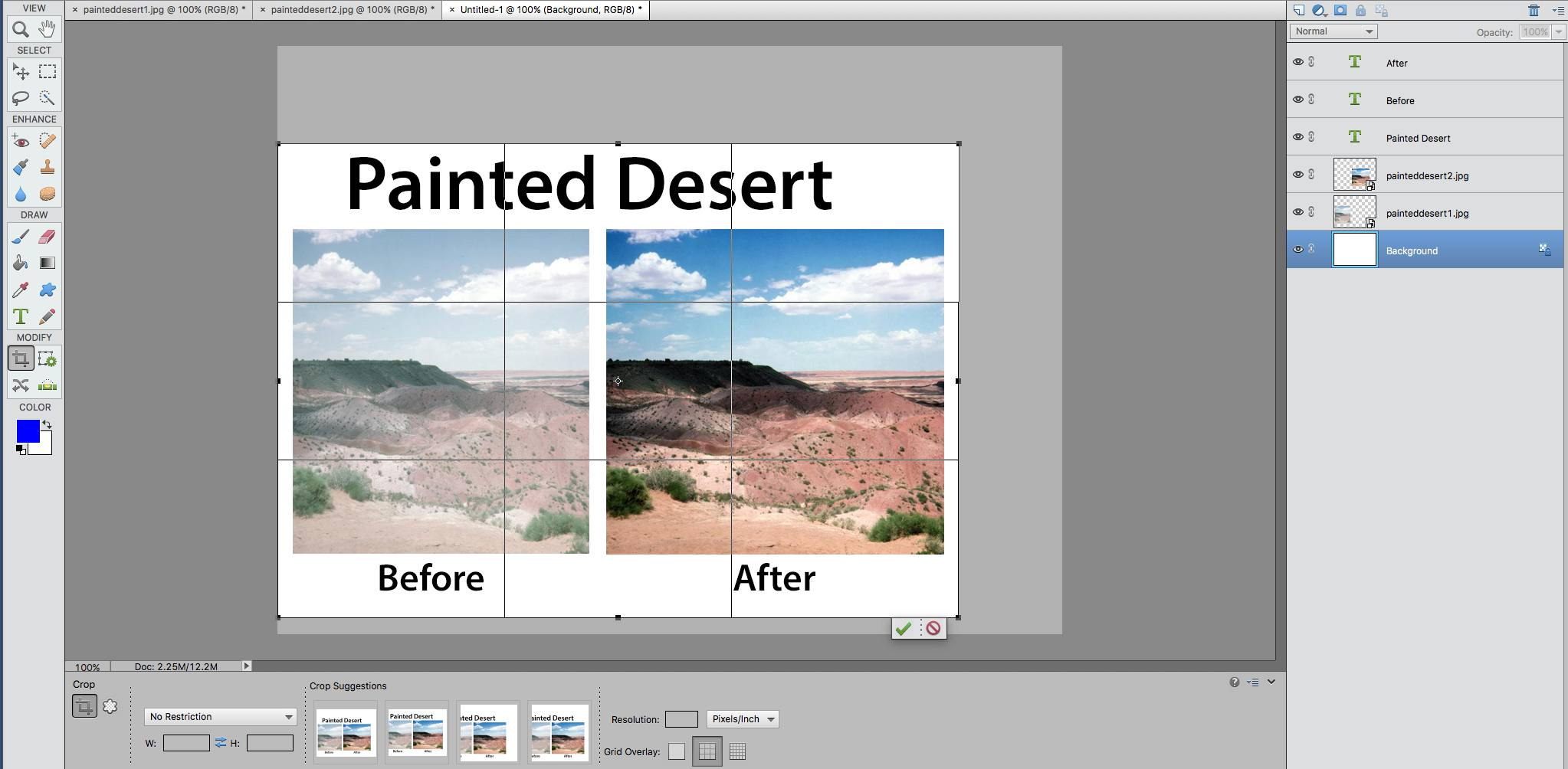 screenshot of a before and after image in photoshop elements