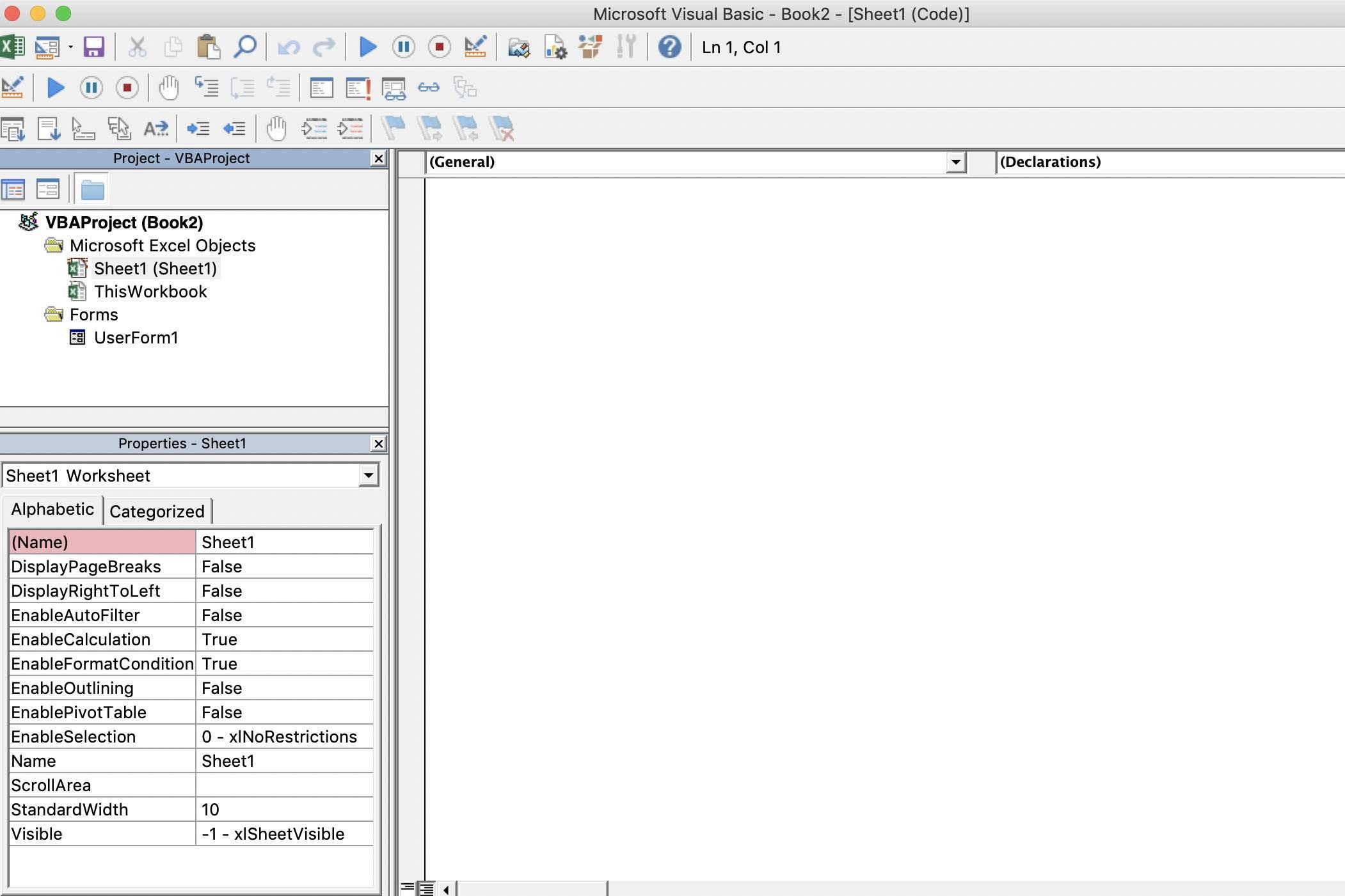 Screenshot of VB Editor