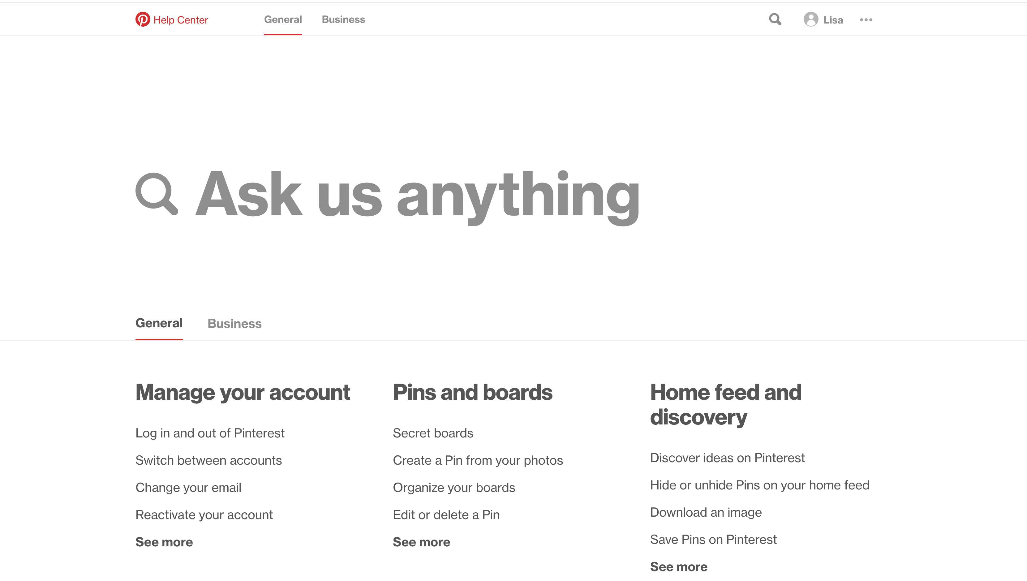 Select Get Help to bring up Pinterest's Help Center.
