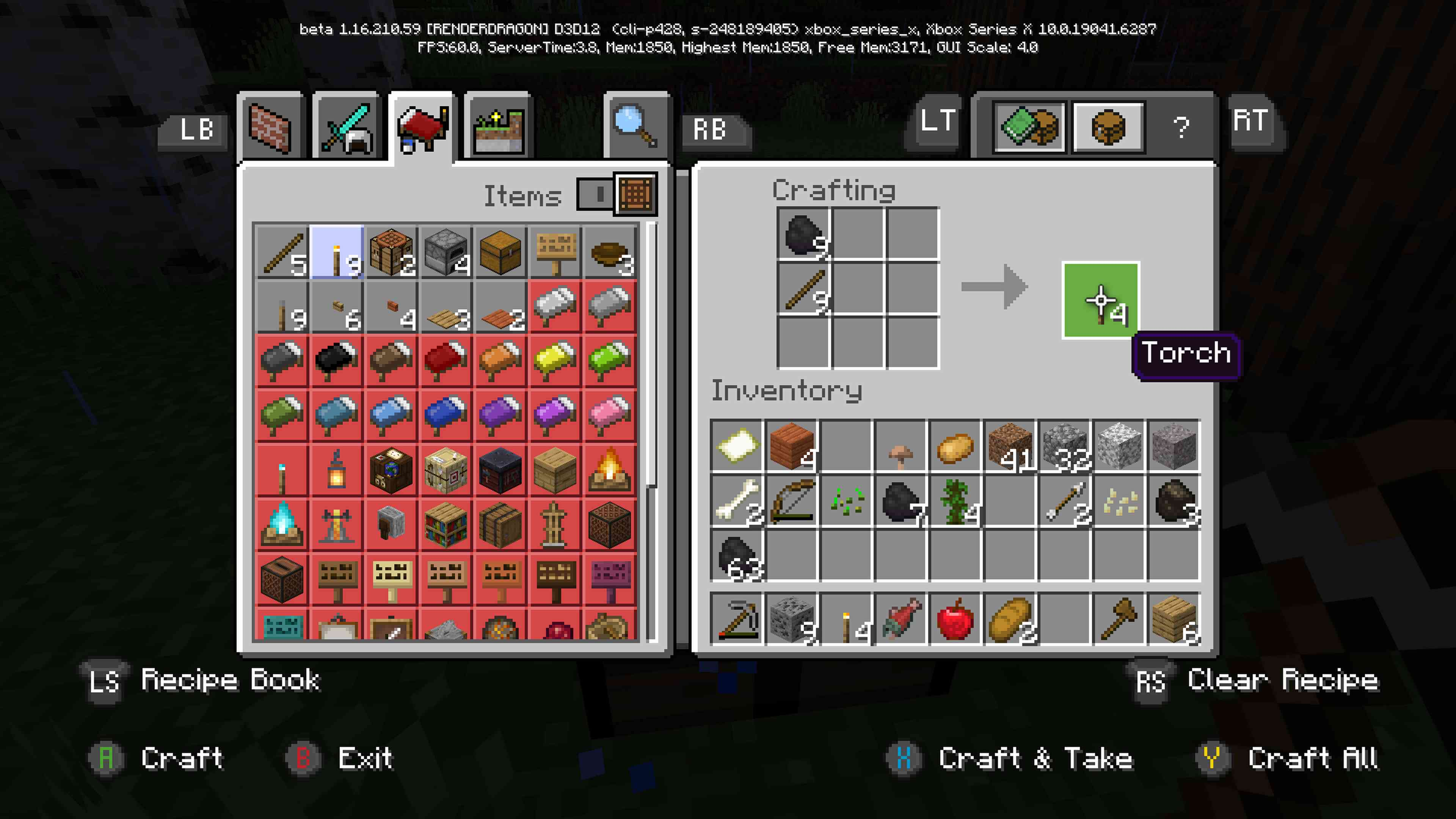 Minecraft Recipe Book with a Torch recipe selected and highlighted