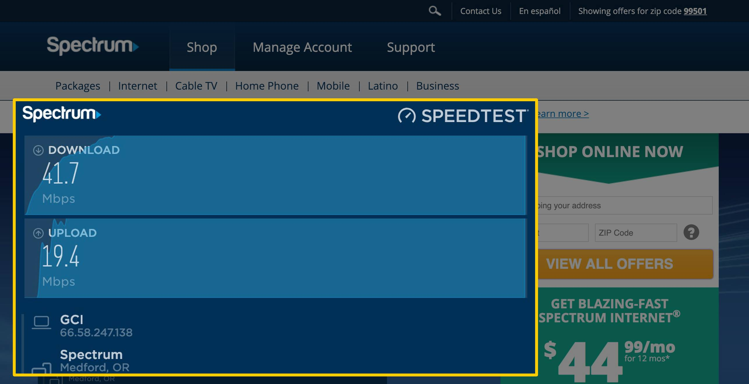 Summary screen for Spectrum Charter speed test