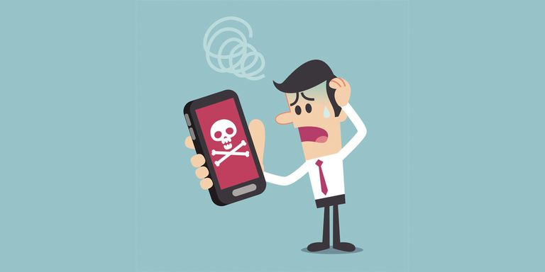 A humorous illustration of a frustrated men looking at a phone with a skull on its screen