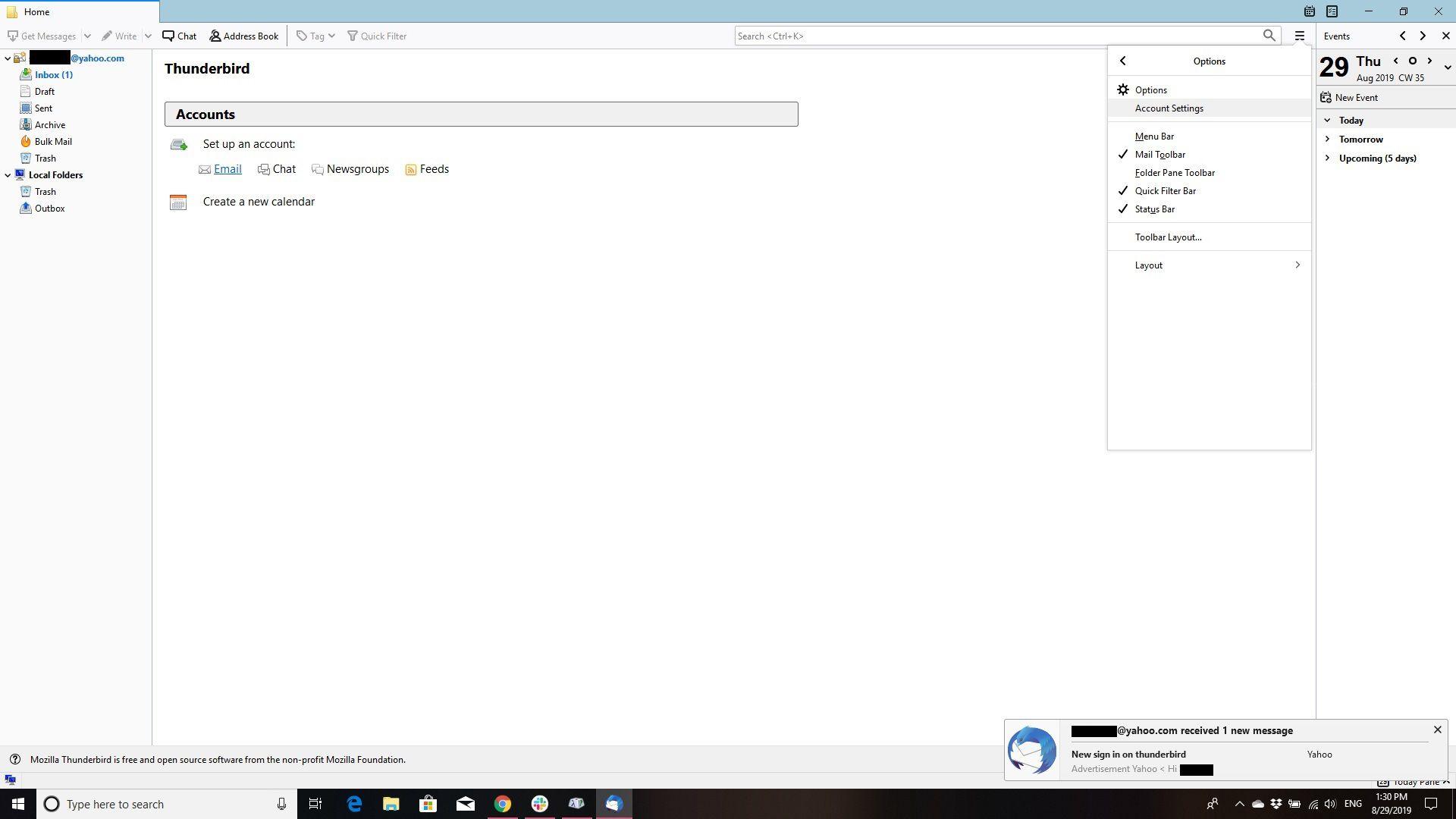 Screenshot depicting the Thunderbird account settings menu option