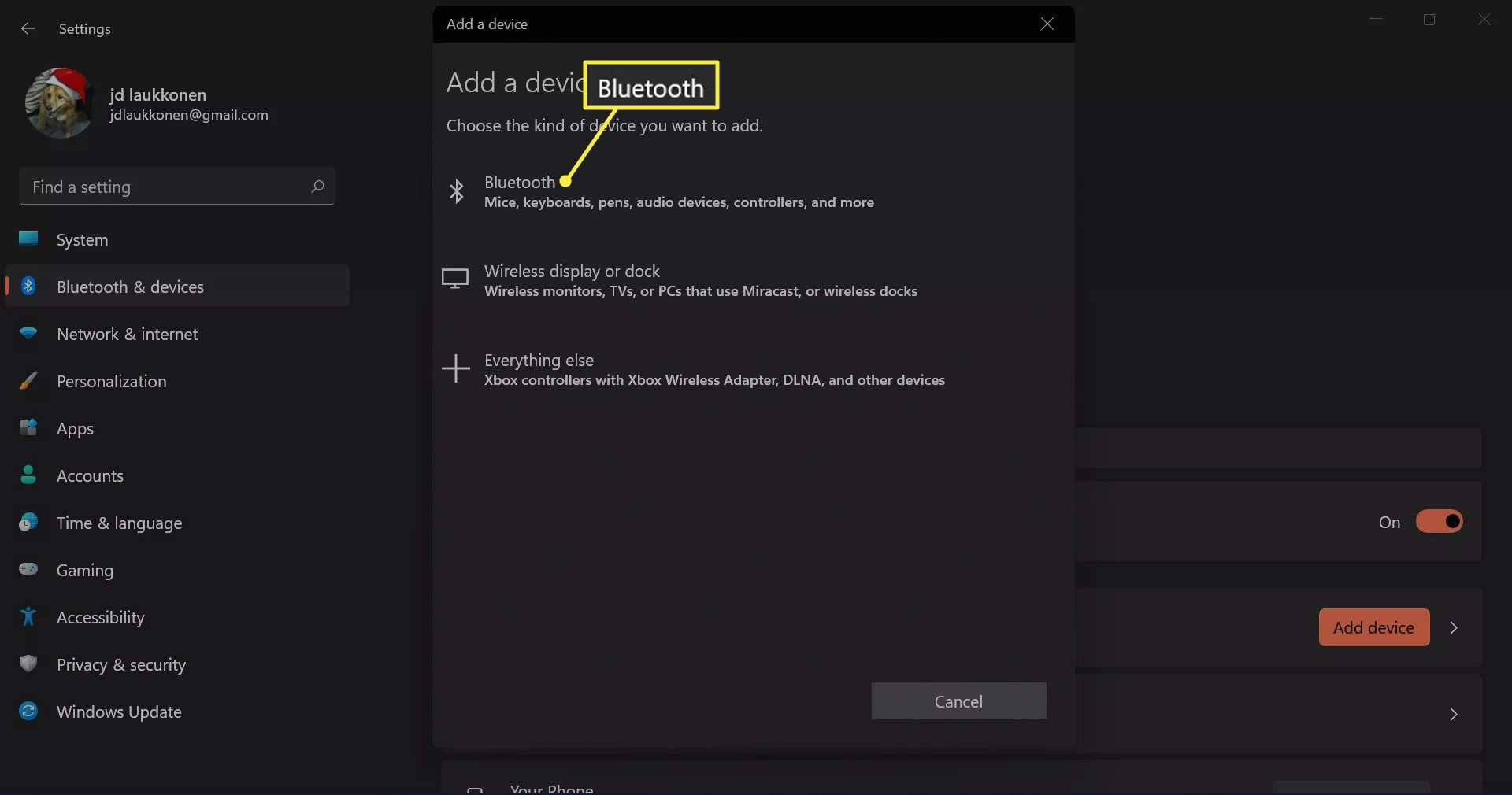 Bluetooth highlighted in the add a device menu in Windows 11