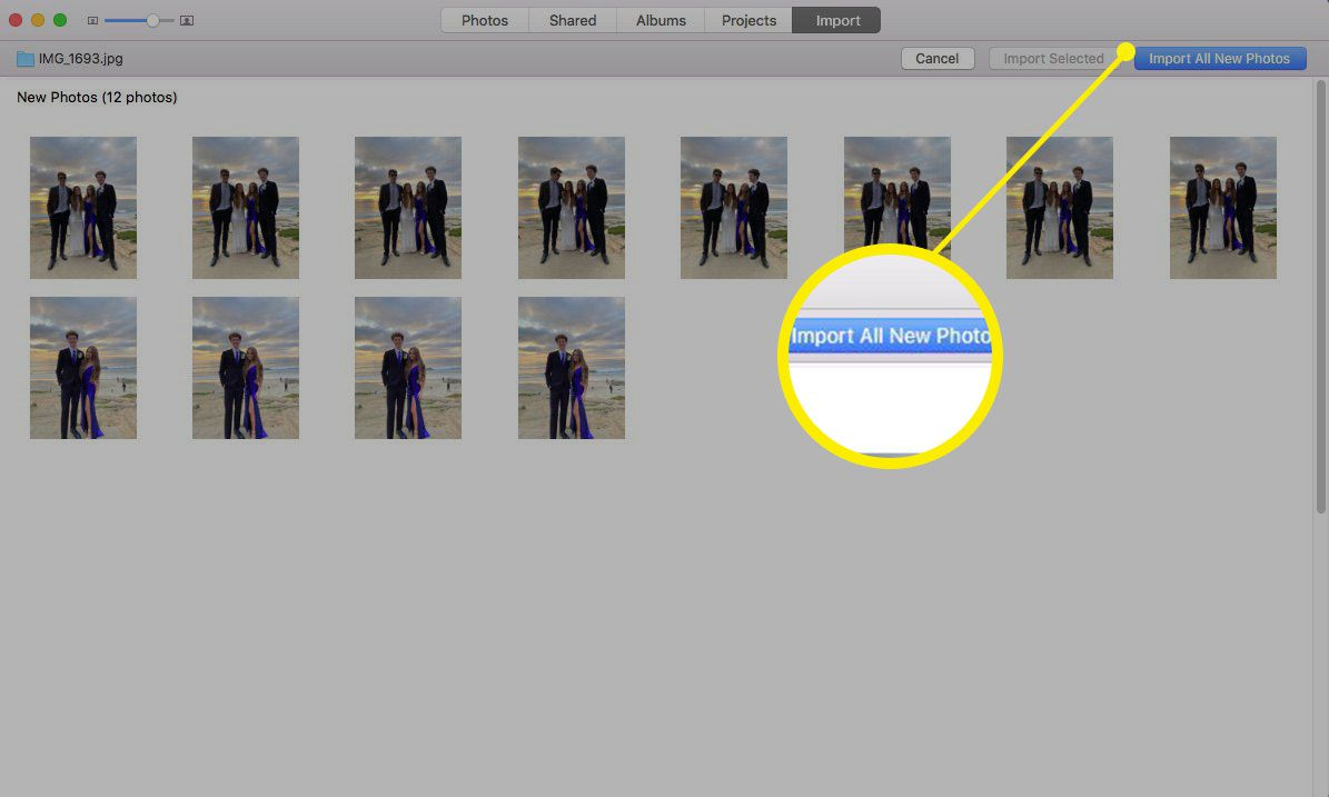 Screenshot of importing photos to new Photos library