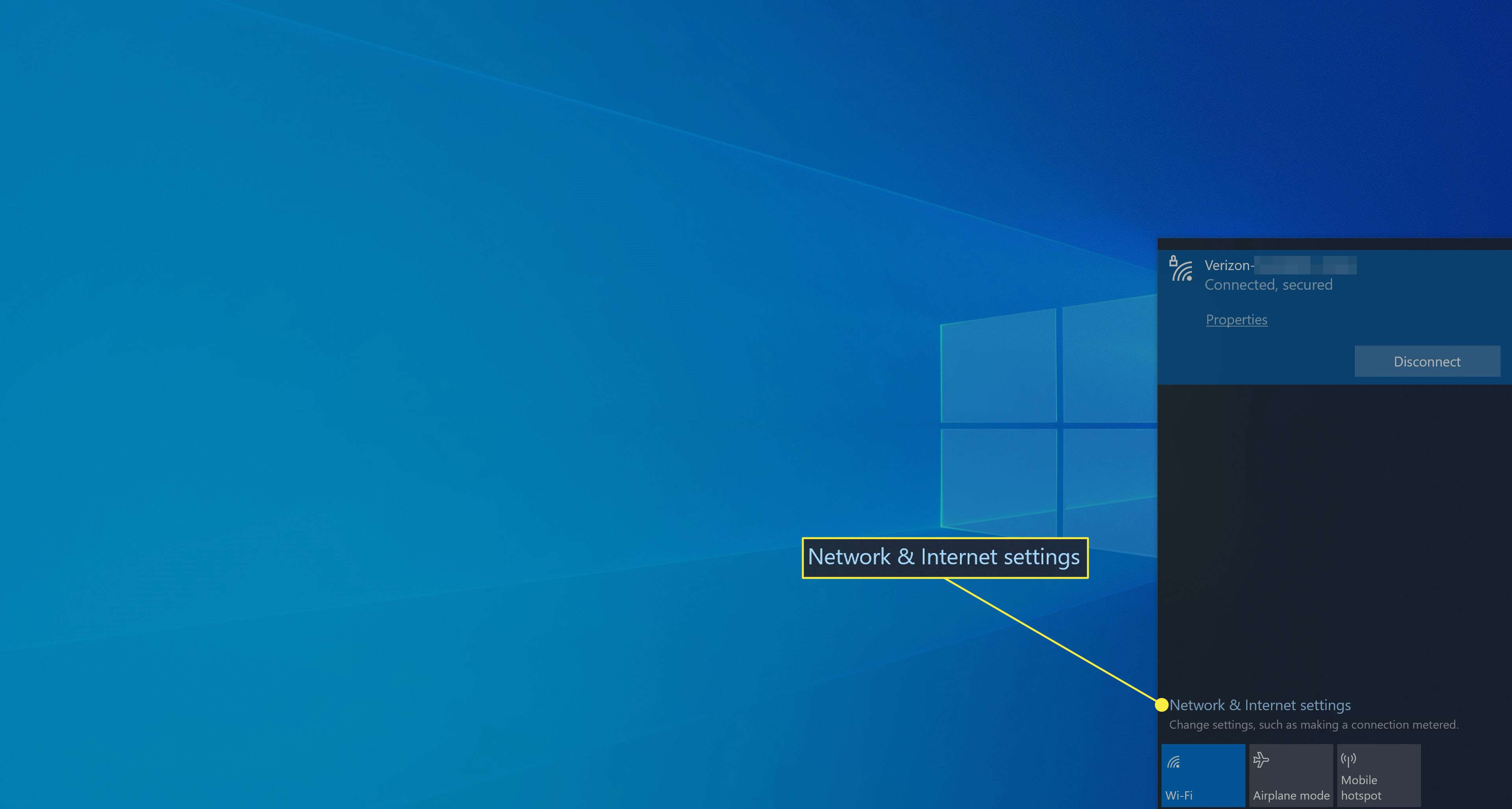 Selecting Network and Internet settings in Windows 10.