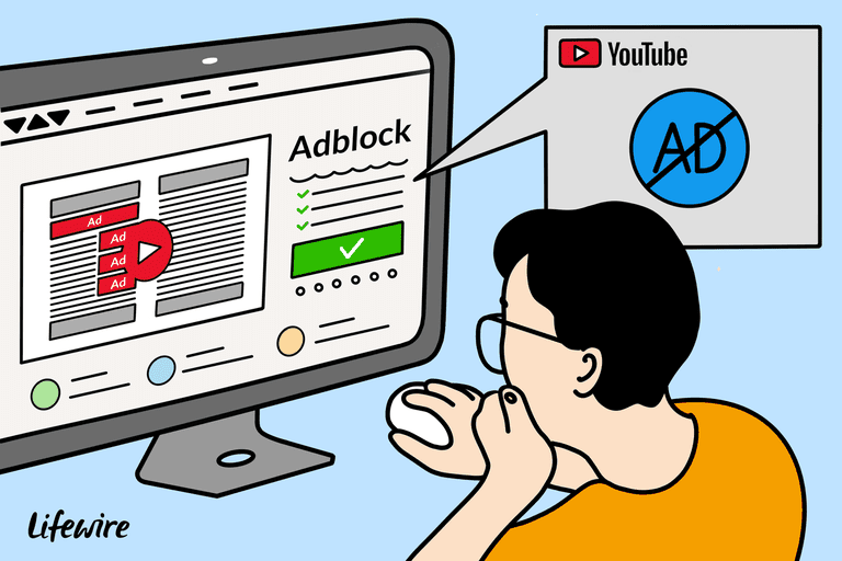 Illustration of a person blocking an ad on YouTube with Adblock
