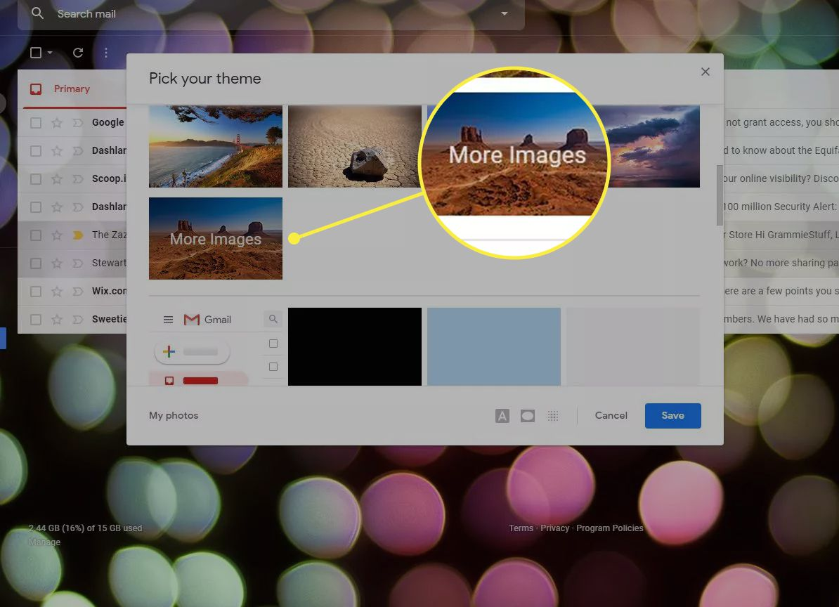 The Gmail theme window with the More Images option highlighted