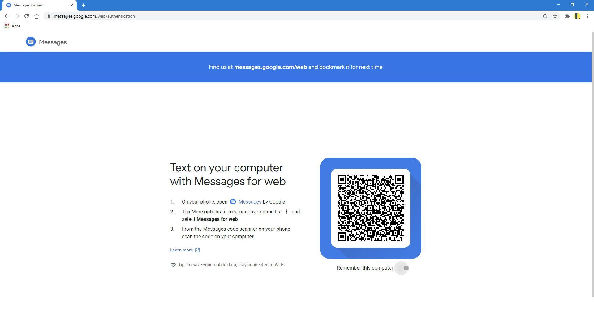 Google Messages website.