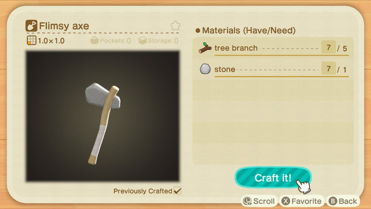 Crafting a flimsy axe in Animal Crossing: New Horizons