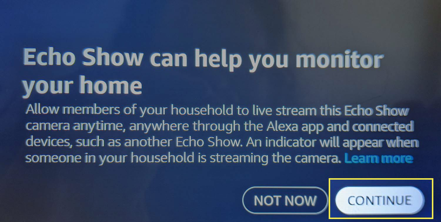 CONTINUE highlighted in the Echo Show Home Monitoring setup process.