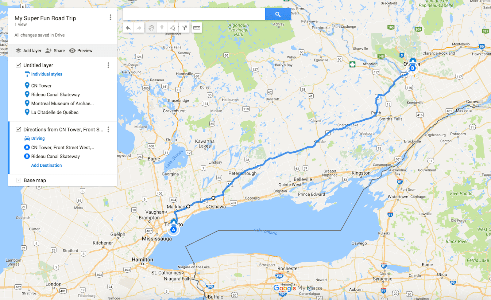 send a custom route on google maps to your phone