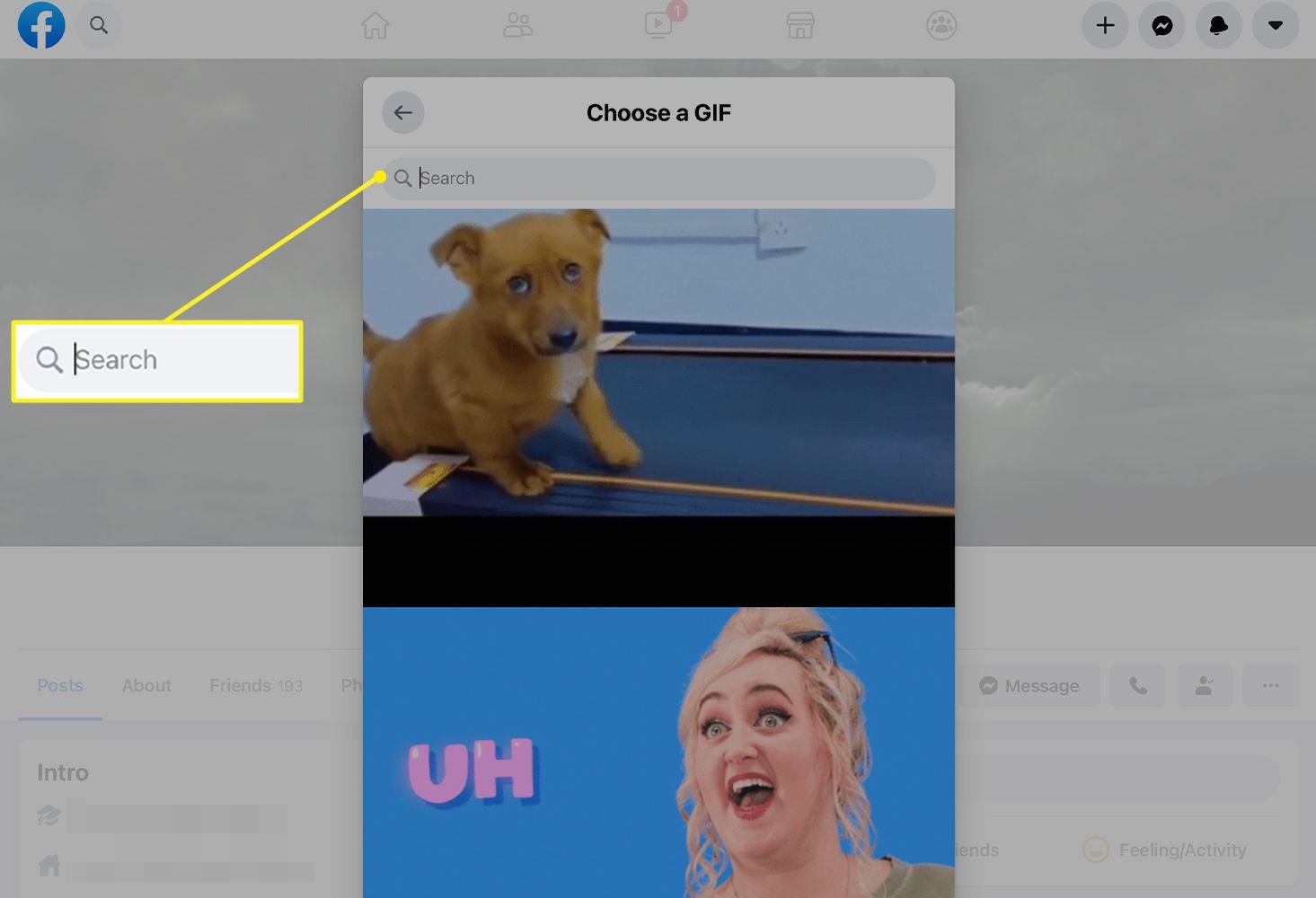 Choose a GIF screen in Facebook