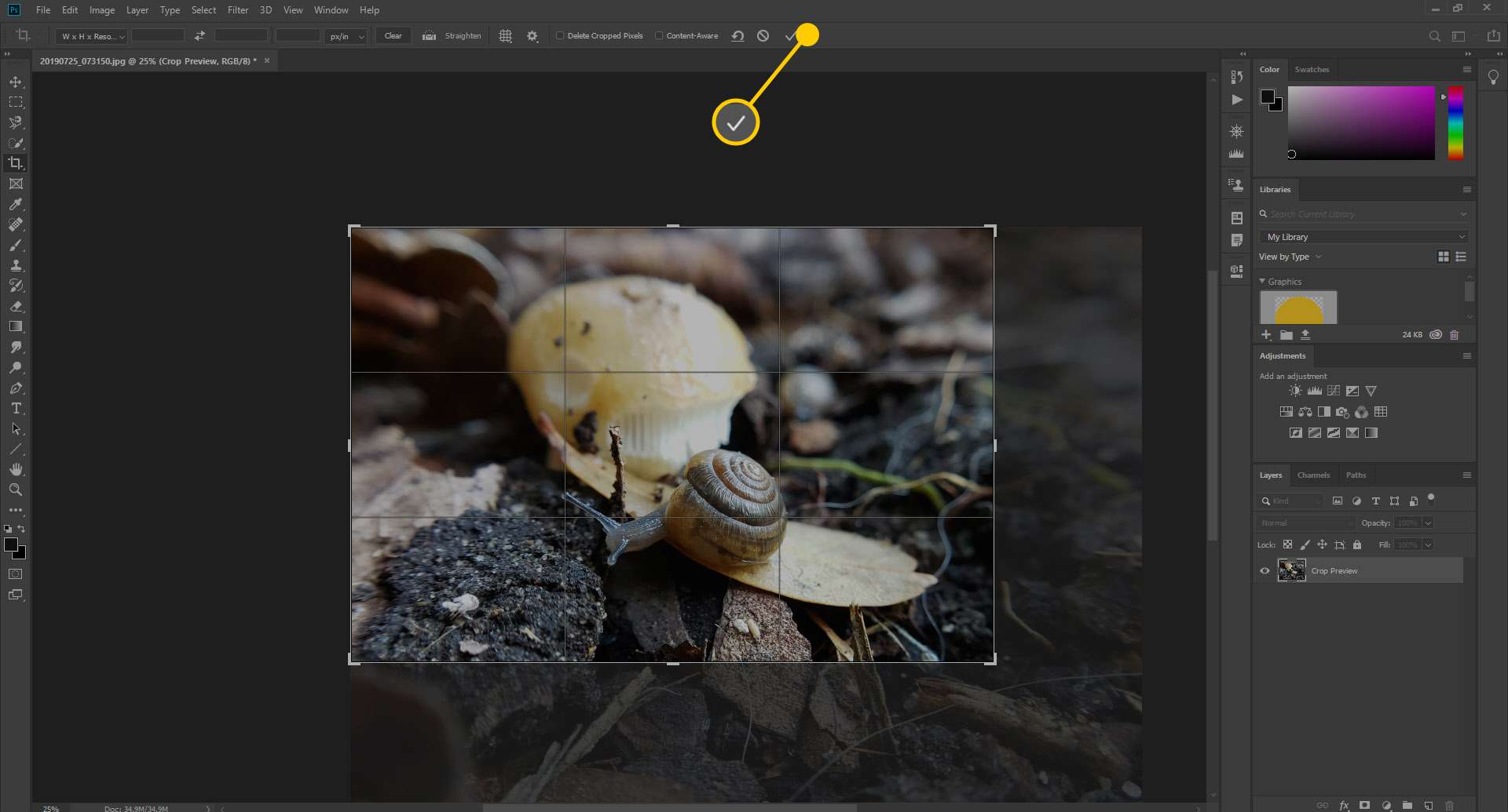 A screenshot showing how to accept a crop in Photoshop.