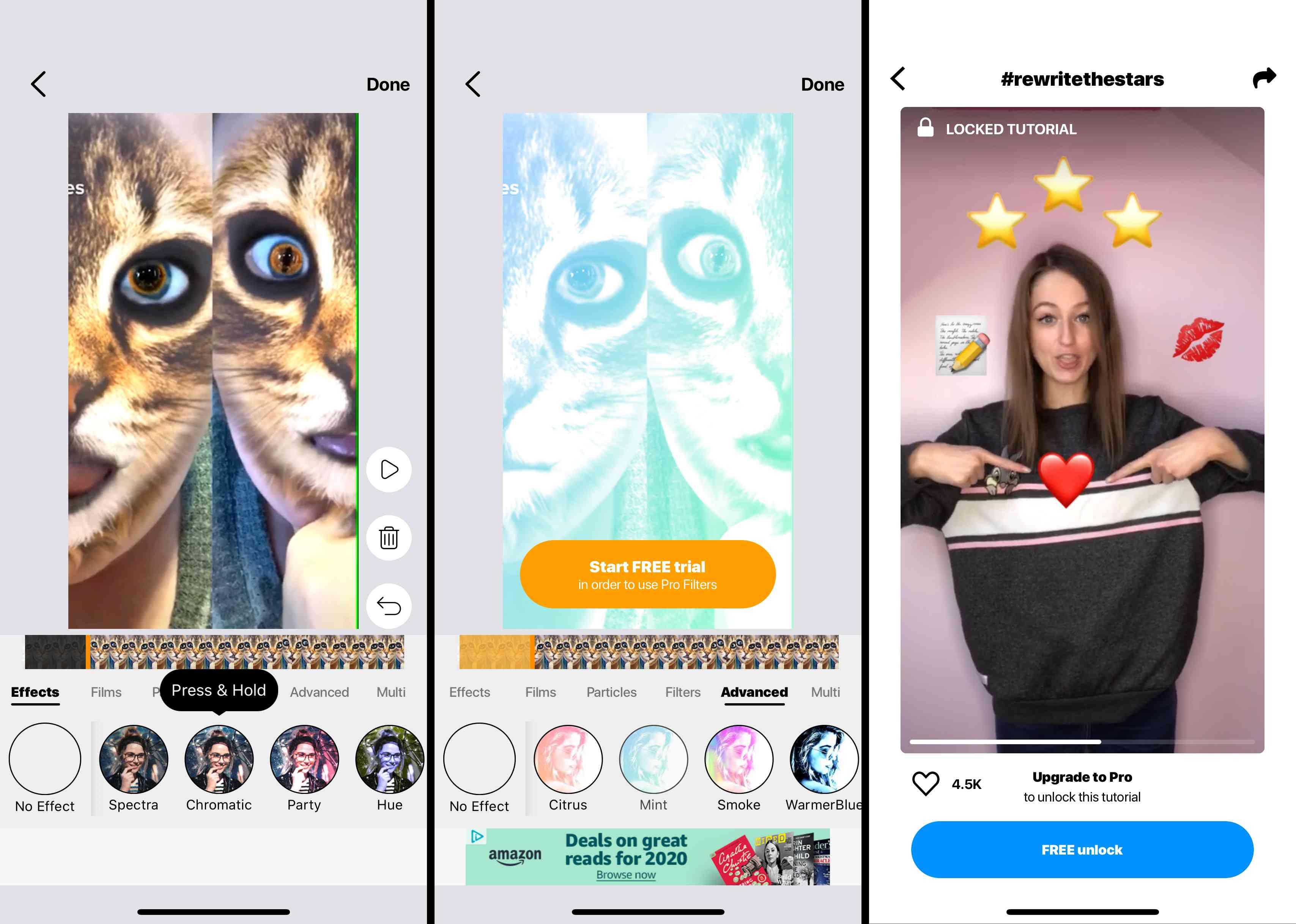 Screenshots of the Zoomerang App