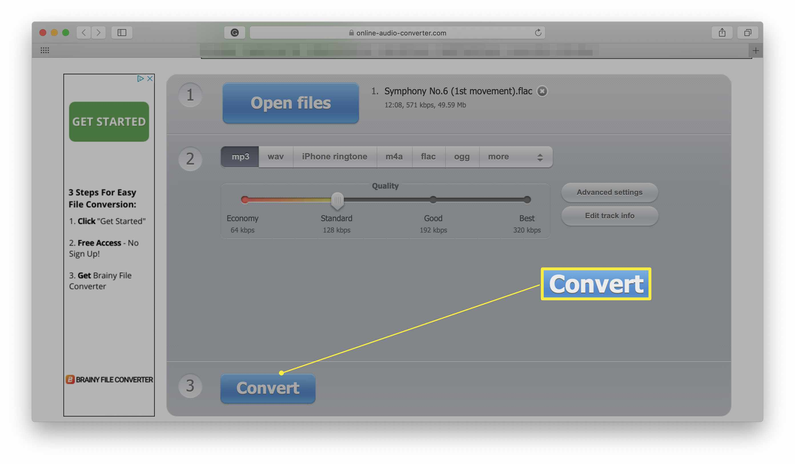 Online Audio Converter website with Convert button highlighted