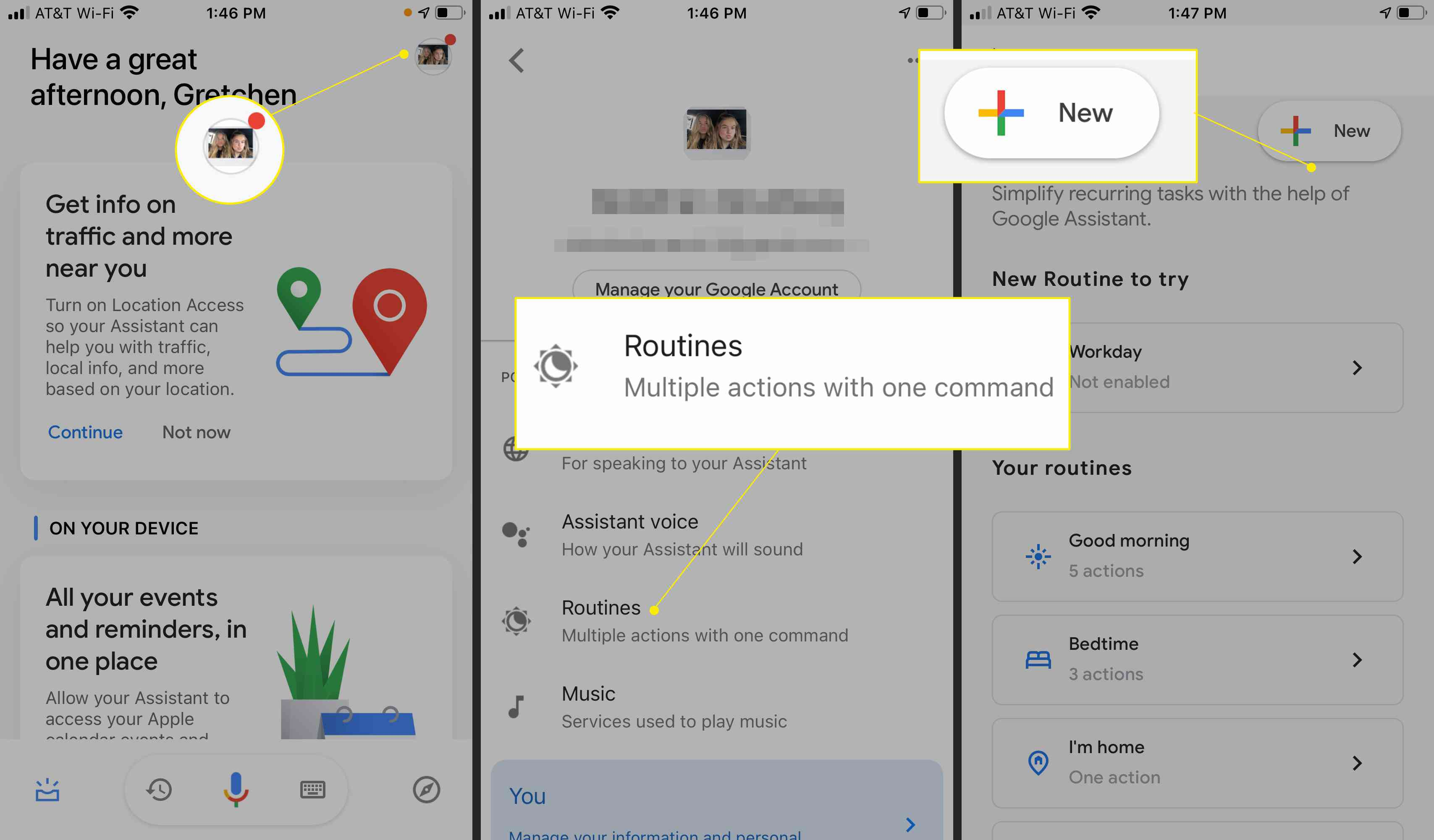 Google Assistant app with Routines and New highlighted