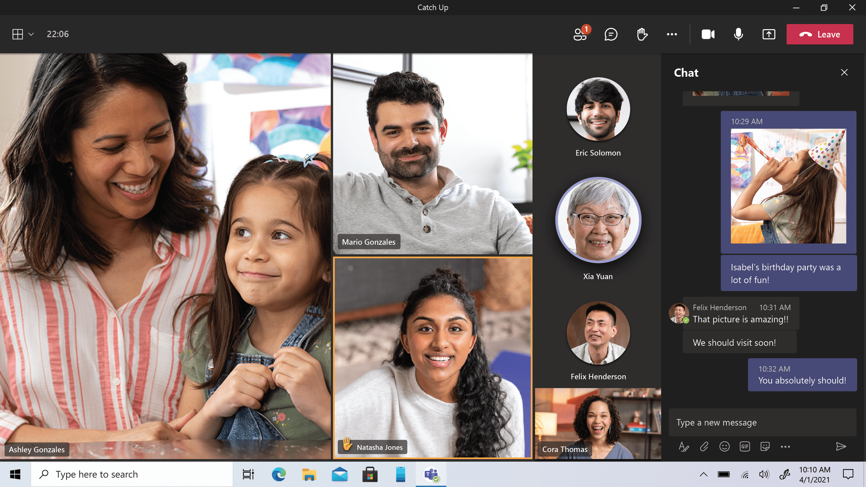 Several users gather together on a call using Microsoft Teams