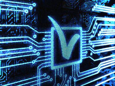 Checkmark in a box represented in a digital circuit board