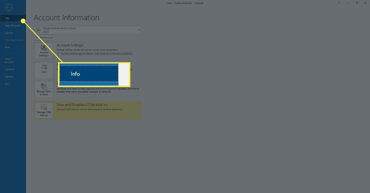 The File menu in Outlook.