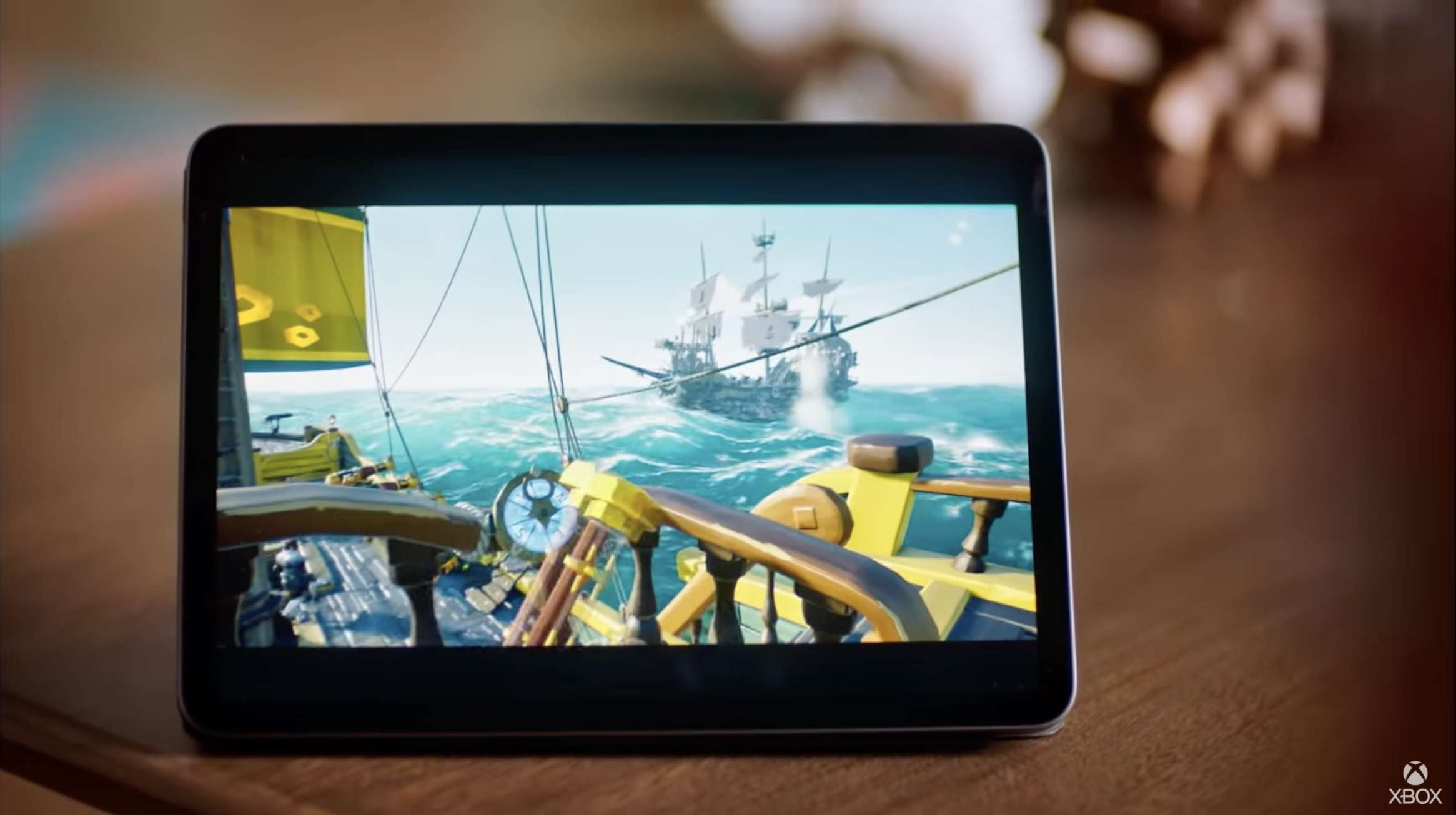 Sea of Thieves streaming on an iPad