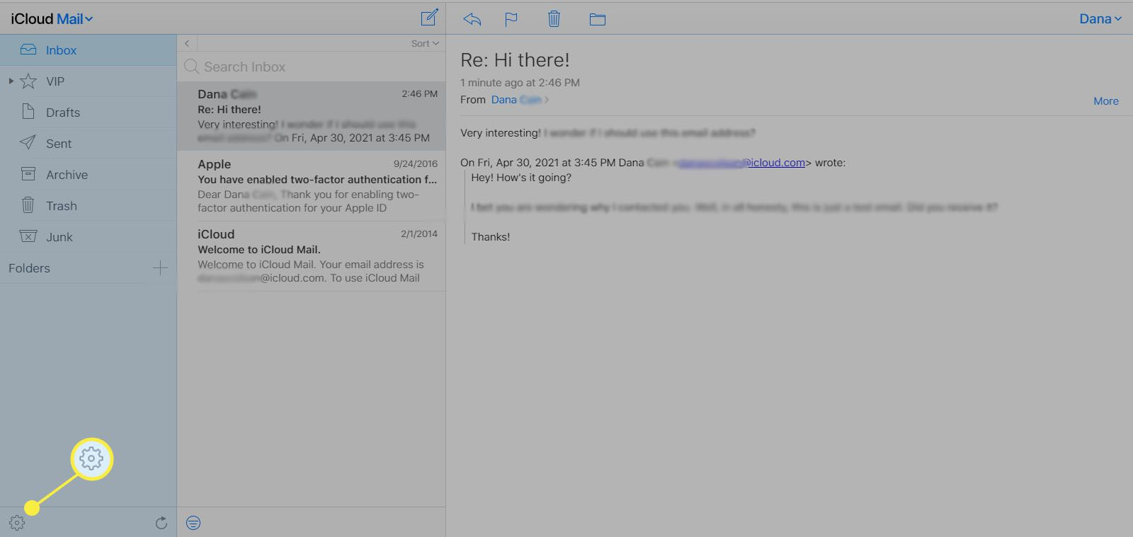 Selecting the Show Actions menu (gear icon) in iCloud Mail