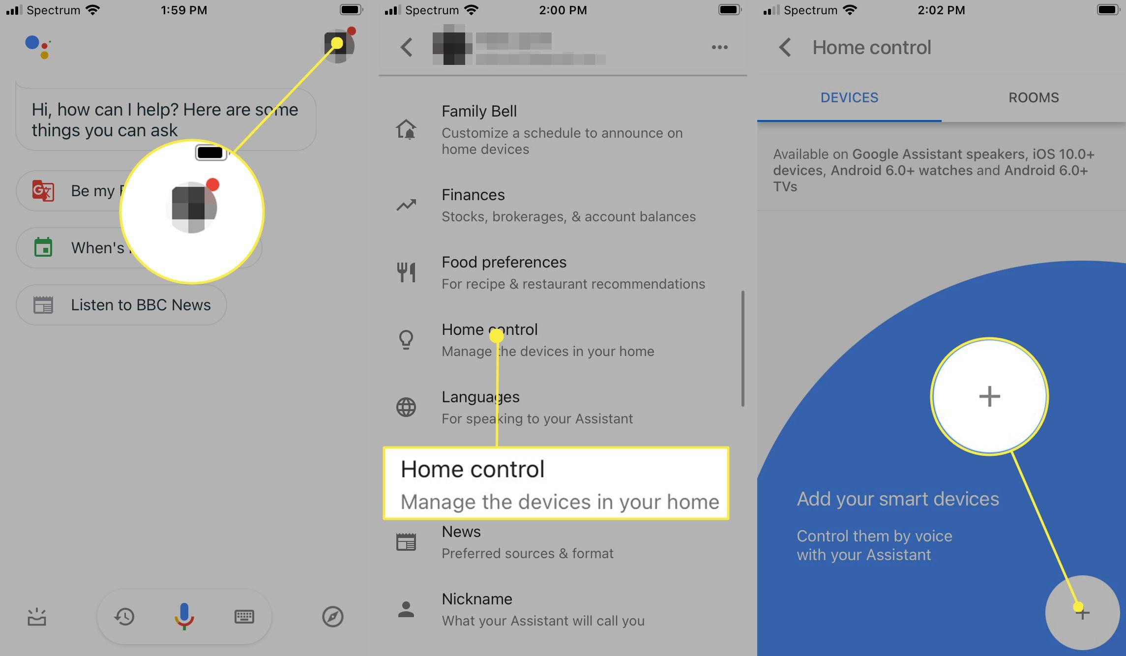 Google Assistant main menu and sub menus
