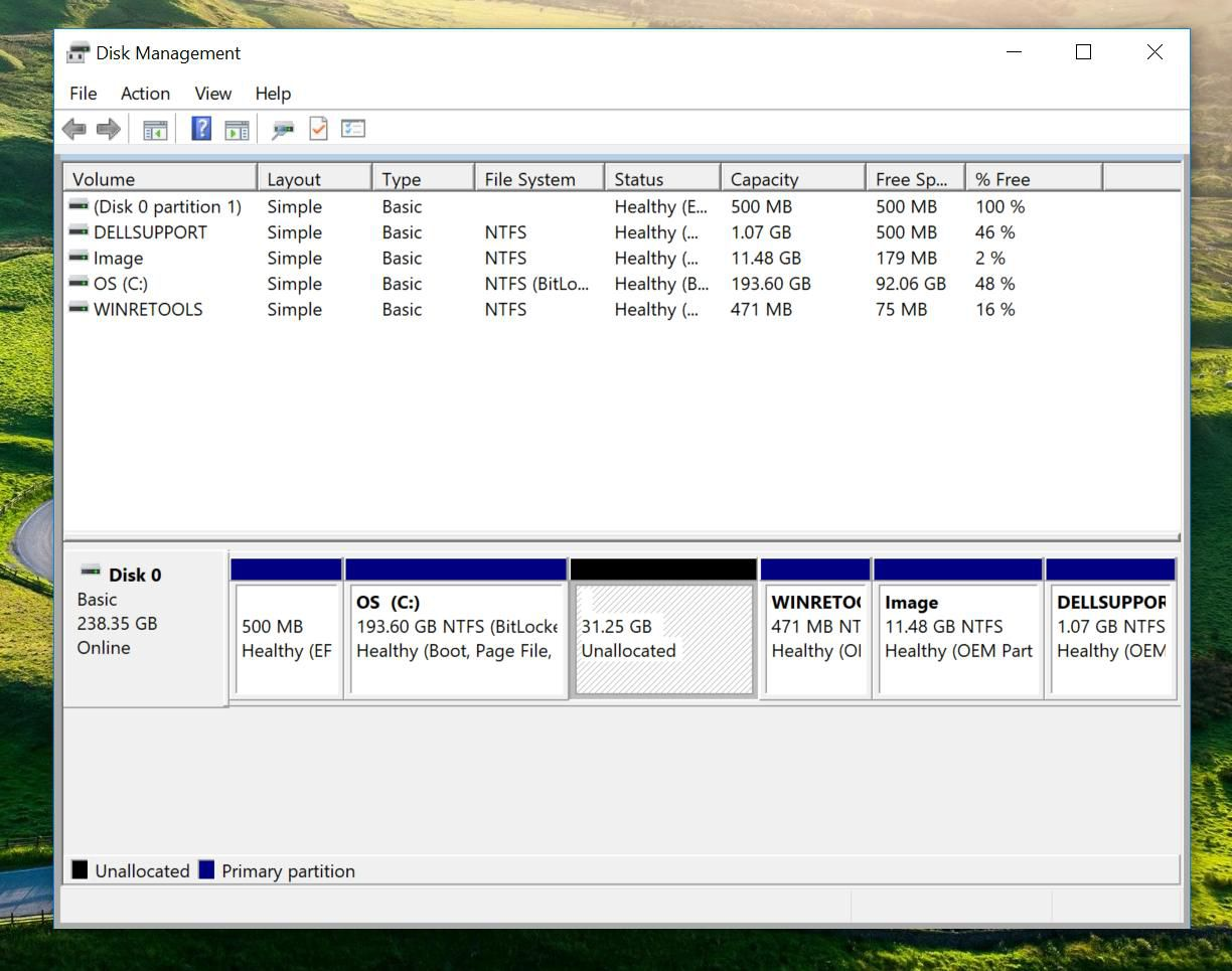 Disk Management Utility in Windows