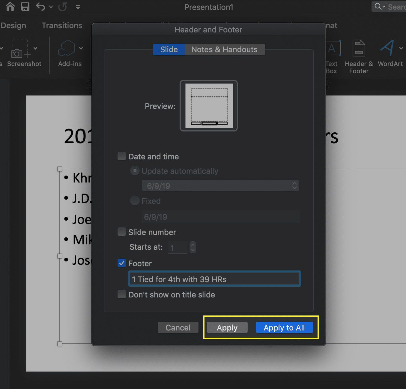 the Header and Footer interface in PowerPoint for macOS