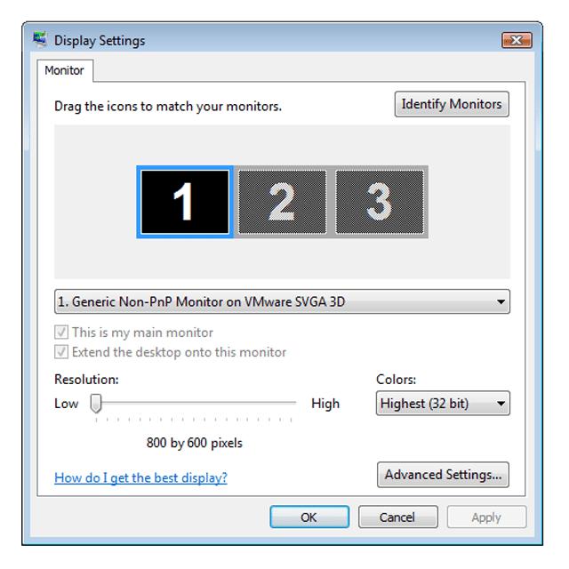 Screenshot of the Colors Display Setting in Windows Vista