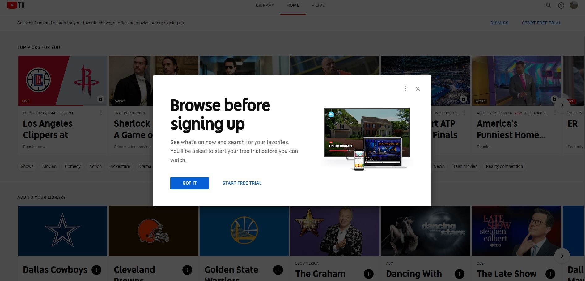 Browse before signing up screen in YouTube TV signup