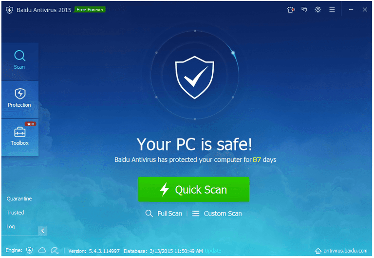 Screenshot of Baidu Antivirus 2015 v5.4.3 in Windows 7