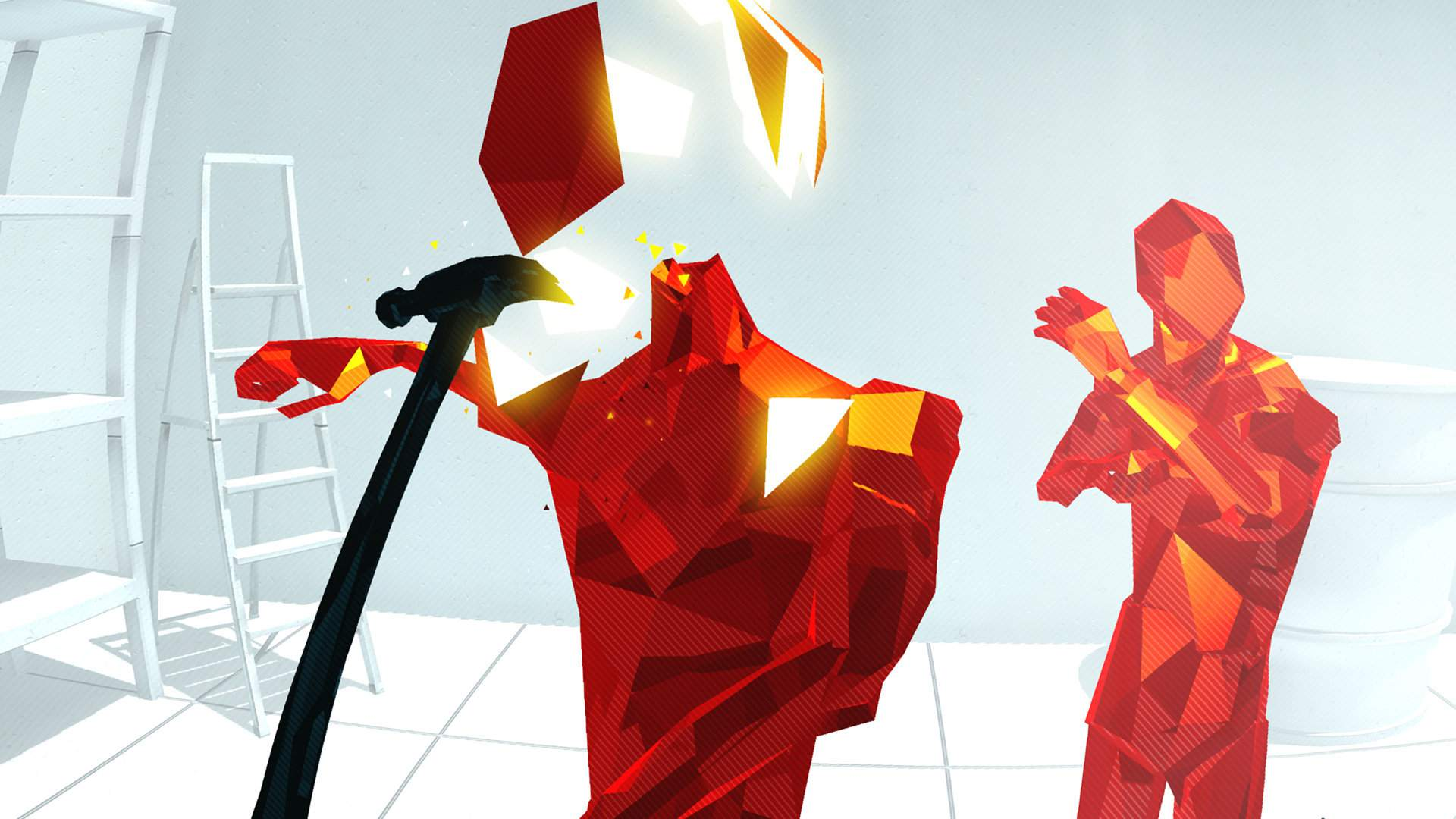 A hammer split through a red angular humanoid. Another red humanoid is in the back, surrounded by white walls.