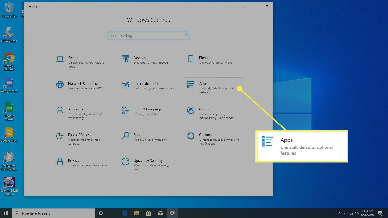 The Apps heading in Windows Settings