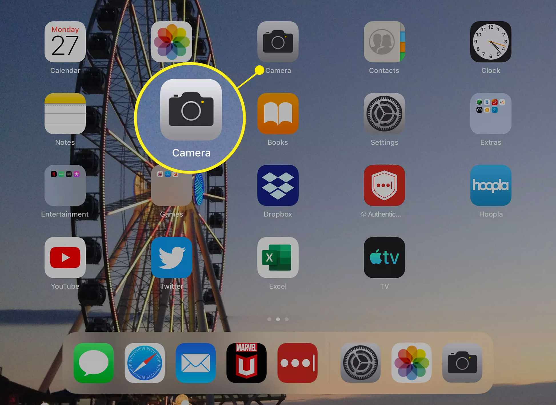 Camera app on iPad home screen