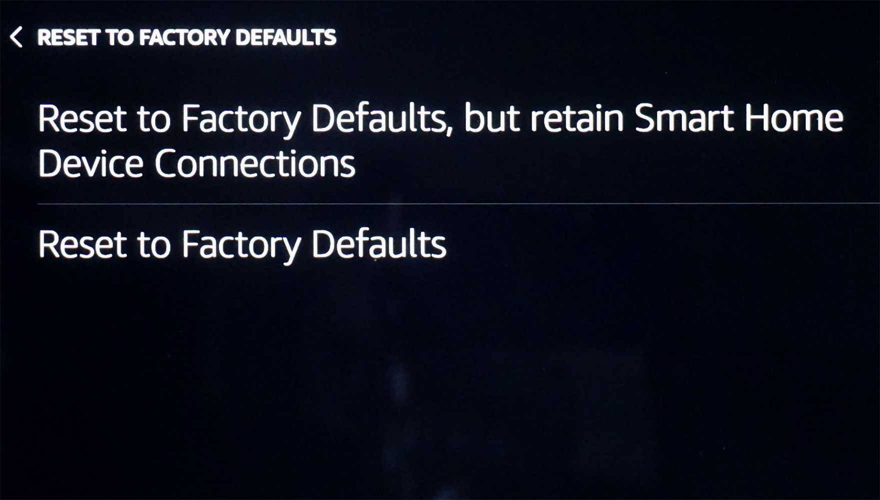 Echo Show – Reset to Factory Defaults Prompts