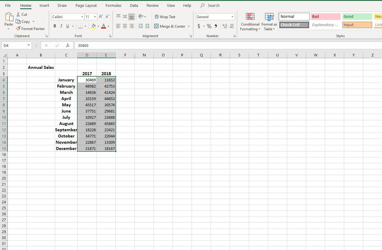 Screenshot of selected data
