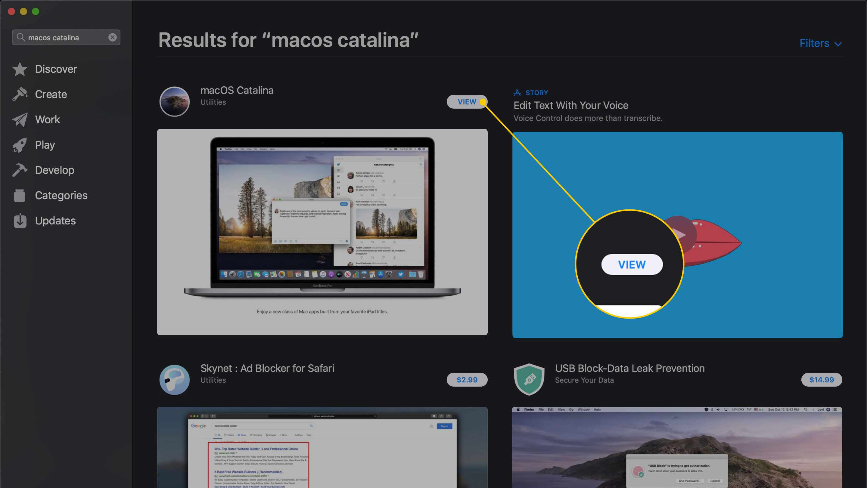 View button for macOS Catalina in the App Store