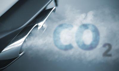 Car exhaust blurring abbreviation for CO2