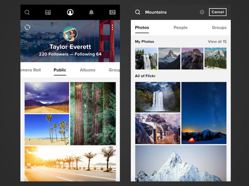 Two screenshots of the Flickr app on Android.