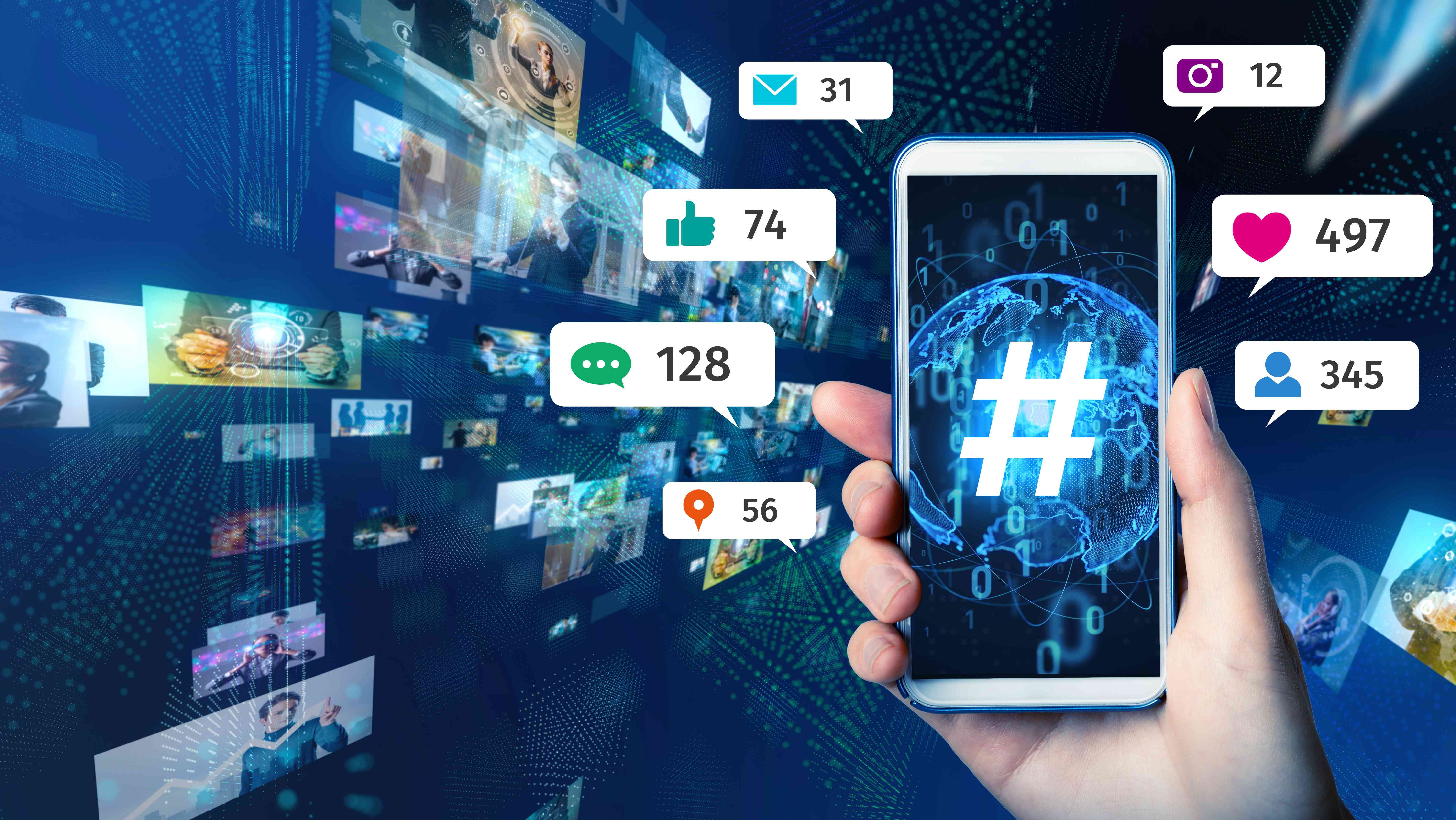 Social networking service concept with hashtags