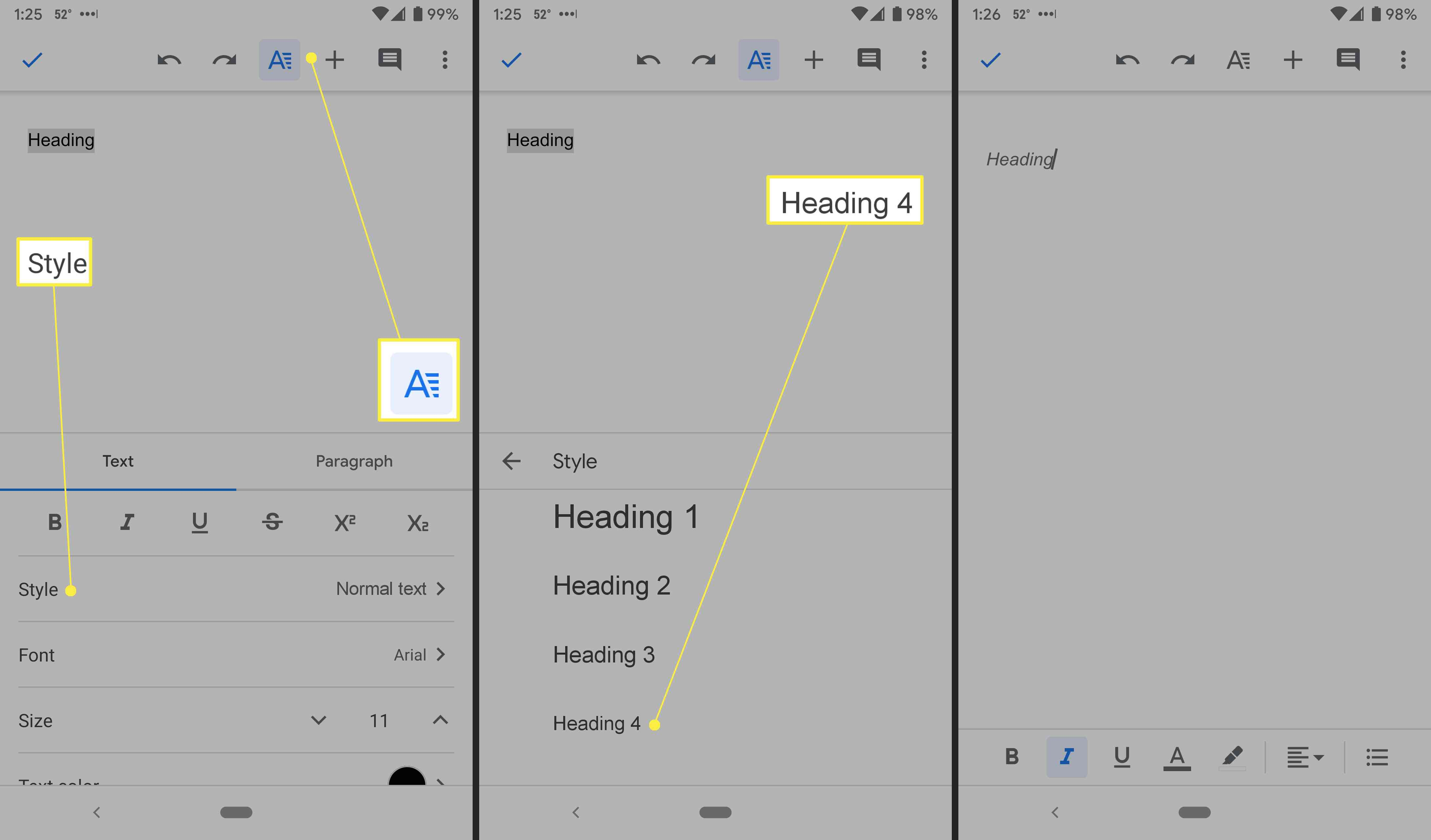 Editing headings in Google Docs for Android.