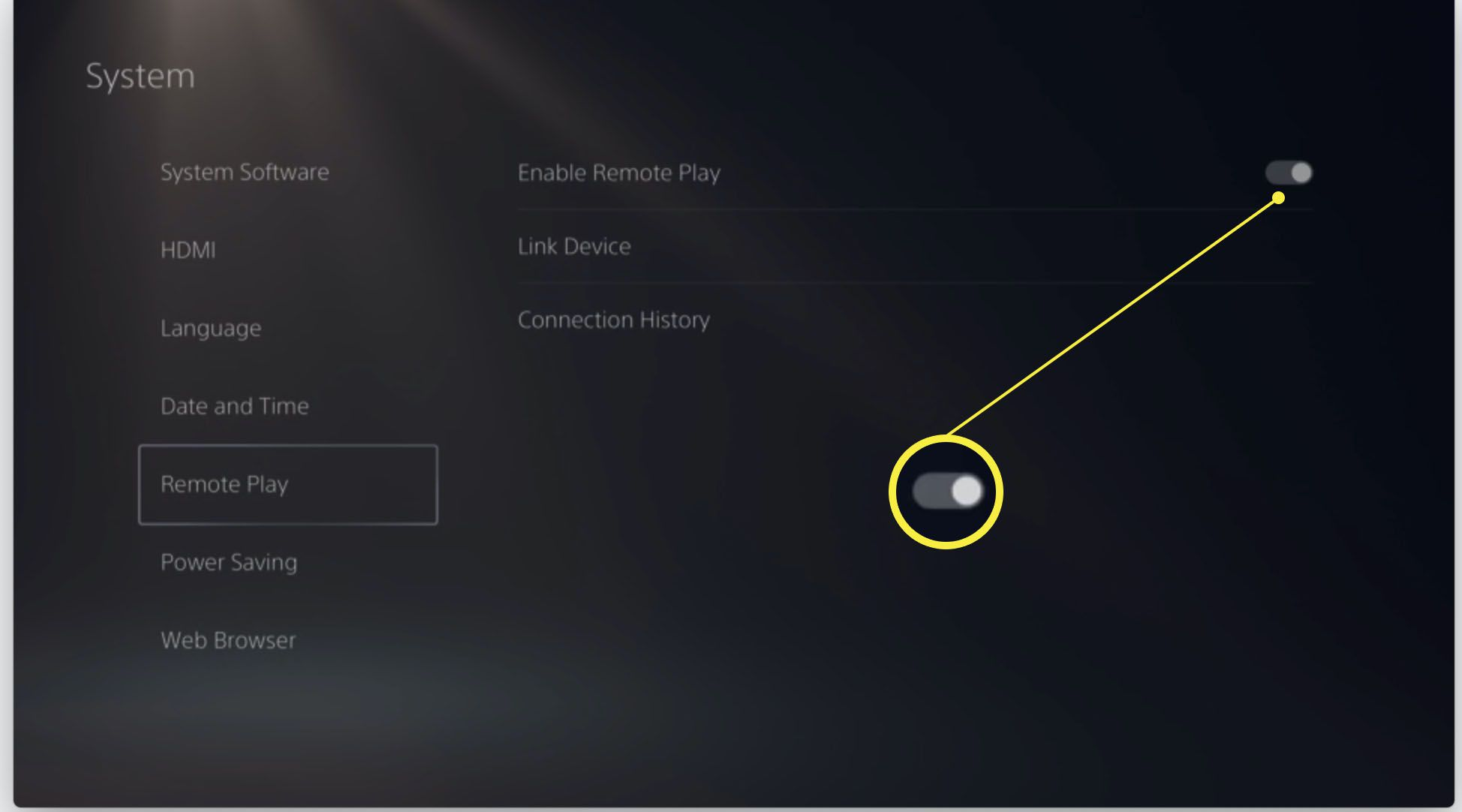 Playstation 5 with Enable Remote Play highlighted